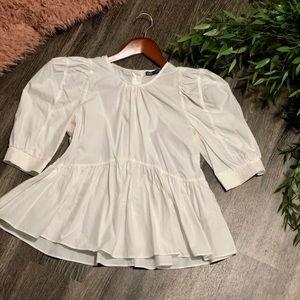 White Puff Sleeve Peplum Zara Top
